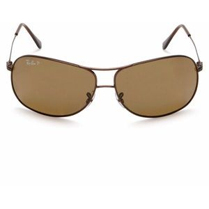 Ray Ban Square Aviators in Brown NEW